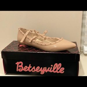 Nude Flat Studded Shoe with strap detail